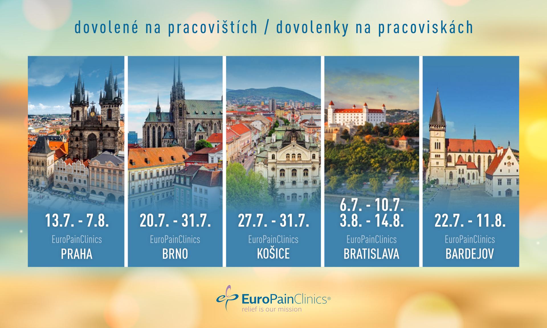 Omezení provozu na pracovišťích EuroPainClinics z důvodu letních dovolených